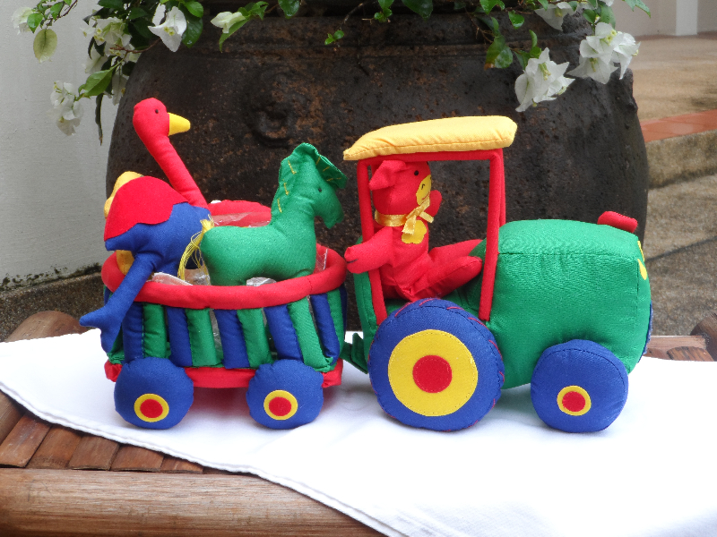 Animals pulled by a tractor